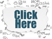 Web-Entwicklungs-Konzept: Klicken Sie hier auf heftiges Papier stockbilder