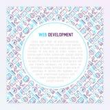 Web-Entwicklungs-Konzept mit dünner Linie Ikonen Lizenzfreies Stockbild