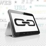 Web-Entwicklungs-Konzept: Tablet-Computer mit Link auf Anzeige Lizenzfreie Stockfotografie