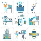 Web-Entwicklungs-Team-Charakterikonenlinie Satz Stockfoto