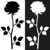 web Esbo?o do motivo da flor para o projeto A silhueta preta de aumentou com folhas ilustração stock