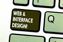 Web et design de l'interface d'apparence de signe des textes Sites en ligne de photo de concepteurs conceptuels de site Web dével images libres de droits