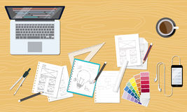 Web et espace de travail créatif graphique de disposition de conception illustration stock