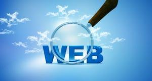 Web et loupe sur la SK Images stock