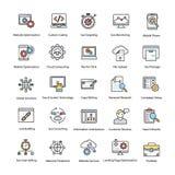 Web et Seo Flat Vector Icons Set illustration de vecteur