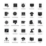 Web et Seo Glyph Vector Icons Set illustration stock