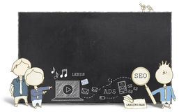 Web Experts with Blank Blackboard Stock Images