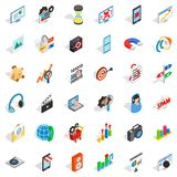 Web extension icons set, isometric style. Web extension icons set. Isometric style of 36 web extension vector icons for web  on white background Royalty Free Stock Photos