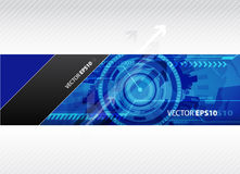 Web-Fahne mit blauer Technologieabbildung. Stockfotos
