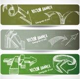 Web-Fahnen mit von Hand gezeichnet flüchtigen Pfeilen Lizenzfreies Stockfoto