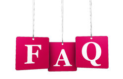 Web Faq. Website support, questioning and help concept with red FAQ sign on tags  on white background Royalty Free Stock Images