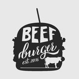 Web. Fast food illustration and hand draw lettering in vector. Colorful, volume, and modern picture of burger concept with different taste Stock Photography
