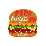 Web. Fast food illustration and hand draw lettering in vector. Colorful, volume, and modern picture of burger concept with different taste Royalty Free Stock Photo