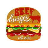 Web. Fast food illustration and hand draw lettering in vector. Colorful, volume, and modern picture of burger concept with different taste Royalty Free Stock Photography