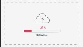 Web file upload, Uploading a file or resource to the cloud with Uploading Process Animation, Red colour Uploading Process