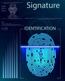 Web. Finger Scan in Futuristic Style. Biometric id with Futuristic HUD Interface. Fingerprint Scanning Technology Concept Illustration. Identification System Stock Photos