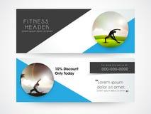 Web fitness header design. Stock Photos