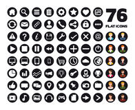 76 web flat icons Royalty Free Stock Photos