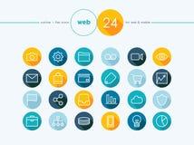 Web flat icons outline style set Royalty Free Stock Photo
