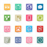 Web flat icons set and white background. This image is a vector illustration Stock Images