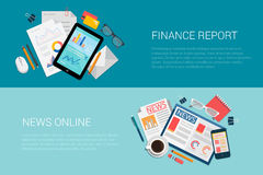 Web flat vector banner finance report news online newspapers. Flat style set of web infographics banners icon collage finance report news online. Tablet with Royalty Free Stock Photos