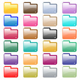 Web folder icons assorted colors. Web folder icons in 24 assorted glossy colors. Isolated on white stock illustration
