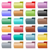 Web folder icons assorted colors. Web folder icons in 24 assorted glossy colors. Isolated on white Royalty Free Stock Image