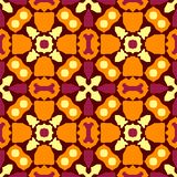 Folklore contrast seamless pattern. Boho style. Orange, yellow, pink, elements; brown background. Tribal ethnic vector texture vector illustration