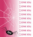 Web in the form of heart and a spider. Stock Photo