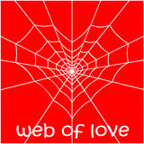 Web in the form of heart and a spider. Royalty Free Stock Images
