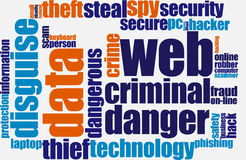 Web fraud. Word cloud over white vector illustration