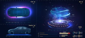 Future car in abstract style on blue background. Futuristic vector HUD GUI UI interface screen design. Automotive
