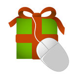 Web gift present with mouse. Illustrated gift with ribbon and mouse as on-line shopping for presents Stock Images