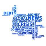Web globale di notizie del testo di crisi finanziaria Fotografie Stock Libere da Diritti