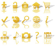 Web Gold Icons Set Shadows & Relections on White 1 Stock Image