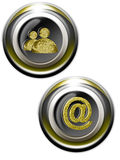 Web Gold iconset 01. Classy gold icons with chat and arroba symbols royalty free illustration