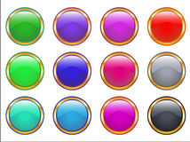 Web golden buttons. Web buttons in golden frame  in different colors Stock Photos