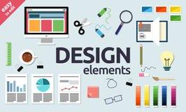 Web, Grafische Ontwerp, van SEO en van het bureau elementen en objecten pictogrammen Vector Illustratie