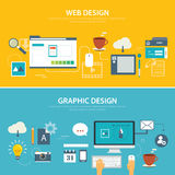 Web and graphic banner flat design. Vector web and graphic banner flat design