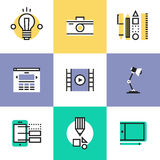 Web and graphic design pictogram icons set Royalty Free Stock Images