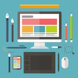 Web and graphic design, tools, tablet, painting stock illustration