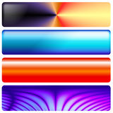 Web graphics banners. A set of four colorful web graphics banners with a multitude of uses as backgrounds, buttons, bars, etc Royalty Free Stock Photo