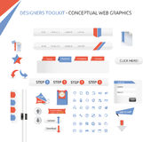 Web graphics. A set of designed web graphics and icons Stock Photos