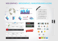 Web graphics. A set of designed web graphics and icons Royalty Free Stock Images