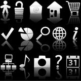 Web Gray Icons Set with Relections on Black 1 vector illustration