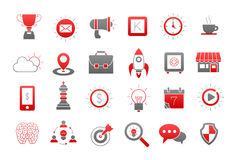 Web gray-red  icons set. Set of 24 Web gray-red  icons Stock Image