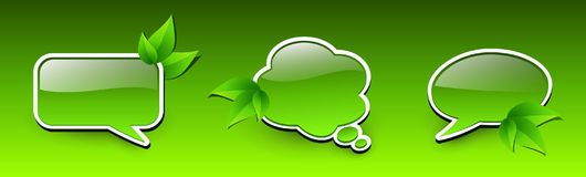 Web green icons. Spring chat bubbles with leaves, 3D  vector green badges Royalty Free Stock Image