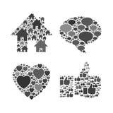 Web gris y símbolos transparentes detallados móviles Foto de archivo