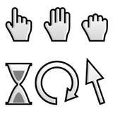 Web hand. And arrow cursor with hour-glass