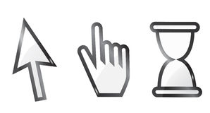 hand and arrow cursor with hour-glass Stock Photography